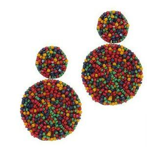 Multi-color Circle linked seed bead earrings